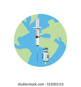 Vector image of a syringe and vaccine bottle on a globe