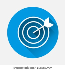 Vector image of a target pierced by an arrow, a dart on blue background. Flat image target icon with long shadow.Layers grouped for easy editing illustration. For your design.