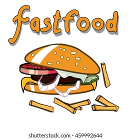 Vector image of tasty burger with fries. Isolated. Fastfood poster.