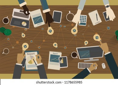 Vector image of a team of business people who are brainstorming and ideas.