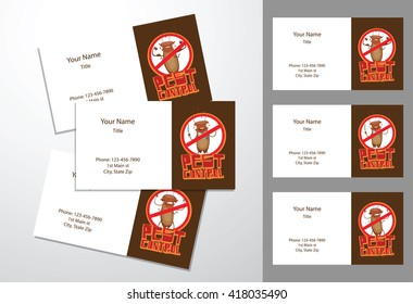 vector image of templates of three brown white business cards with cartoon image of funny