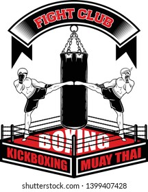 Vector image of the Thai boxer, boxing bag and ring. High kick. Inscription - Fight club, Boxing, Muay Thai, Kickboxing. Illustrations for t shirt print.
