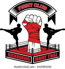 Vector image of the Thai boxer, boxing bag and ring. Fighter hand. High kick. Inscription - Fight club, Boxing, Muay Thai, Kickboxing. Illustrations for t shirt print.