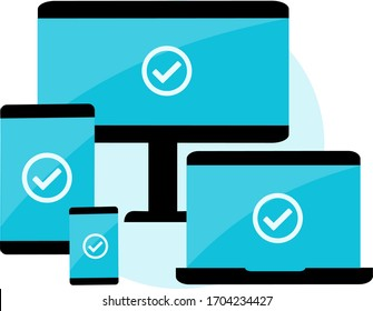 Vector image that represents the compatibility of an application on different devices such as smartphones, tablets, desktop computers and notebooks. Useful also for responsive design systems.