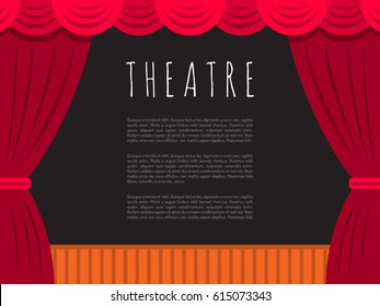 Vector image of theatre stage with curtain and dark scenery, with text for posters presentation.