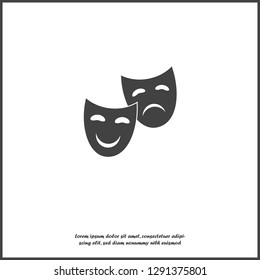 Vector Image Theatrical face mask. Drama and comedy icon on white isolated background. Layers grouped for easy editing illustration. For your design.