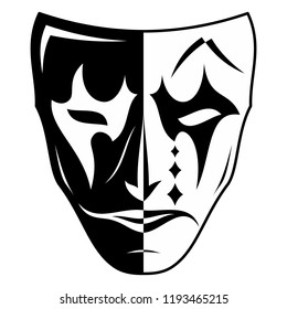 Vector image of a theatrical mask. Two parties - black and white, the good and evil. Sad and cheerful. The drawing for design. Black tattoo. Vector illustration.
