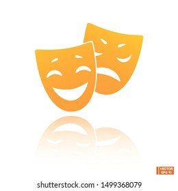 Vector image. Theatrical masks comedy and tragedy. Icon of a sad and smiling mask.