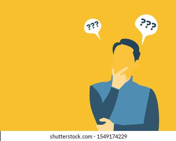 vector image with the theme of a man thinking