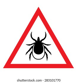 vector image of a tick in a red triangle - tick stop sign