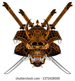 Vector image of a tiger of the Samurai. Katana. Helmet, mask and sword Japanese soldier. Mythical warrior. Illustrations for t shirt print. Color tattoo. Japanese fantasy shogun. Drawing for design.