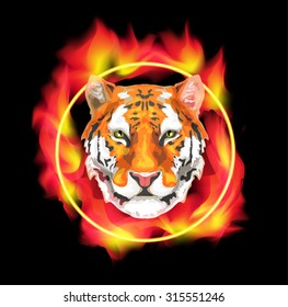 vector image of a tiger that jumps through the burning ring