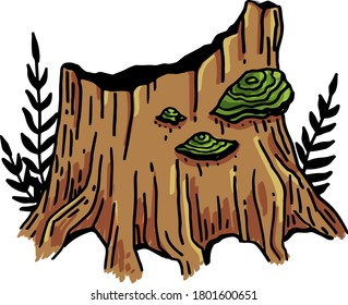 Vector image of a tinder tree growing on a picturesque stump in the forest.