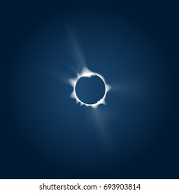 Vector image of a total Solar eclipse observed from the Earth. Realistic style.