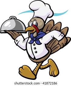 Vector image of turkey running or delivering food.