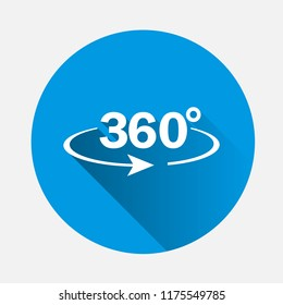 Vector image turn sign 360 degrees on blue background. Flat image 360 degrees with long shadow. Layers grouped for easy editing illustration. For your design.