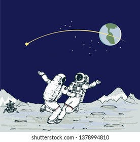 Vector image of two astronauts dancing on the moon surface, back grounded by planet earth and comet tail.