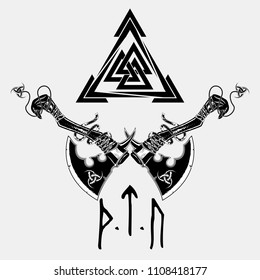 Vector image of two fighting axes and sacred symbol of Vikings. Triskele. Illustration of Scandinavian myths. Odin sign. Runes: victory, fight, power. Celtic sacral symbol. Vector illustration.