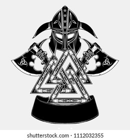 Vector image of two fighting axes and Viking's helmet. Sacred symbol of Vikings. Triskele. Illustration of Scandinavian myths. Odin sign. Celtic sacral symbol. Vector illustration.