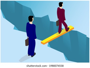 Vector image of two people crossing an ice floe break on a board. Transfer, transfer to another employer for employment. Achieving the goal through difficulties and obstacles