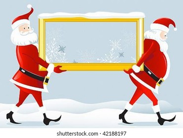 vector image of two Santa Claus, who bear frame.Ability to perfectly position your text
