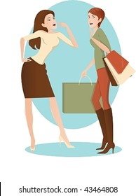 Vector image of two women, one with a successful shop, the second - looks at her admiringly