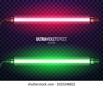 Vector image of ultraviolet lamps. Illustration of realistic light. Symbol of modern fashion. Set of different color shades. Popular style. Neon design.