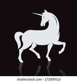 Vector image of an unicorn on black background