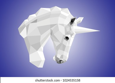 Vector image of the unicorn's white head in profile in polygonal design on a blue gradient background