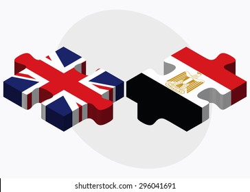 Vector Image - United Kingdom and Egypt Flags in puzzle isolated on white background