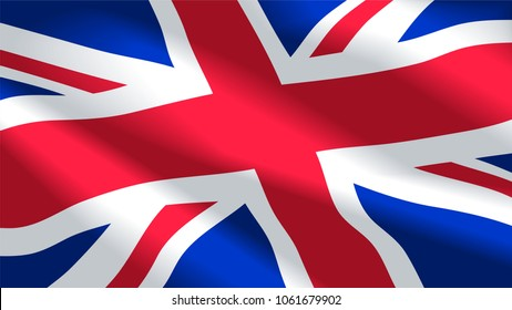 Vector image of United Kingdom flag background. Illustration. Great Britain. Britannia. UK.