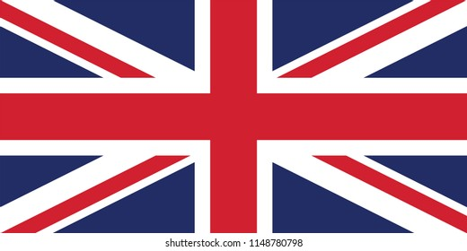 Vector image for the United Kingdom Flag. Flag of Great Britain, British flag, Union Jack, Based on the official and exact United Kingdom flag dimensions (2:1) & colors (280C and 186C)