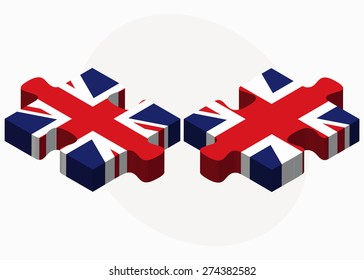Vector Image - United Kingdom and United Kingdom Flags in puzzle isolated on white background