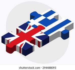 Vector Image - United Kingdom and Greece Flags in puzzle isolated on white background