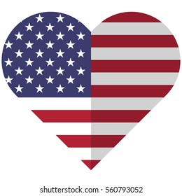 Vector image of the United States of America flat heart flag