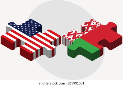 Vector Image - USA and Belarus Flags in puzzle  isolated on white background