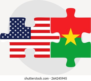 Vector Image - USA and Burkina Faso Flags in puzzle  isolated on white background