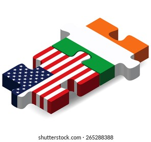 Vector Image - USA and Ireland Flags in puzzle  isolated on white background