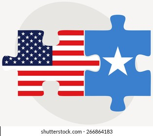 Vector Image - USA and Somali Flags in puzzle isolated on white background