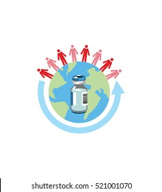Vector image of a vaccine bottle on a globe with people and an arrow