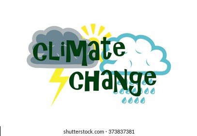 Vector image of various weather symbols and the words climate change