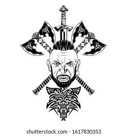 Vector image of a Viking head, two battle axes and a sword. Wolf - Celtic totem warrior.  Illustration of Scandinavian myths.  Drawing for t shirt print. Triskelion. Triskele.