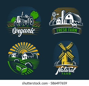vector image of village and landscape agriculture emblem