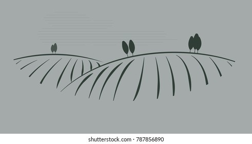 vector image of village and landscape. rural landscape.  farm field