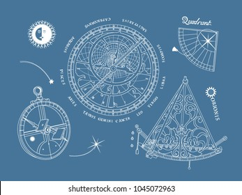 Vector image of a vintage astronomical instruments