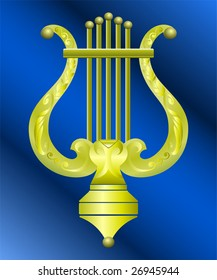 Vector image of vintage gold musical instrument lyre decorated with ornament