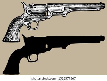 72e82372c94a vector image of vintage revolvers made in toon style and antique engraving