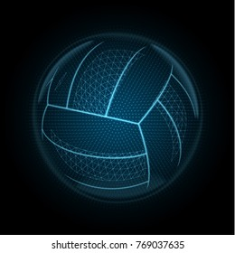 Vector image of a volleyball ball made of illuminated shapes. Sport illustration consisting glowing lines, points and polygons in the form of ball for beach volley. Abstract 3D neon wireframe concept