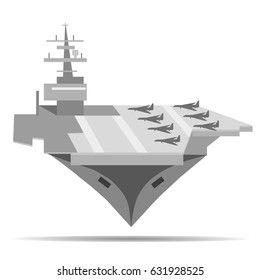 Vector image of a warship aircraft carrier on an isolated white background