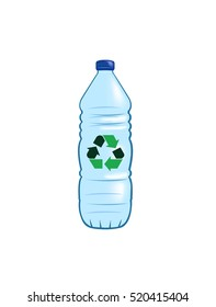 Vector image of a water bottle with a recycling symbol